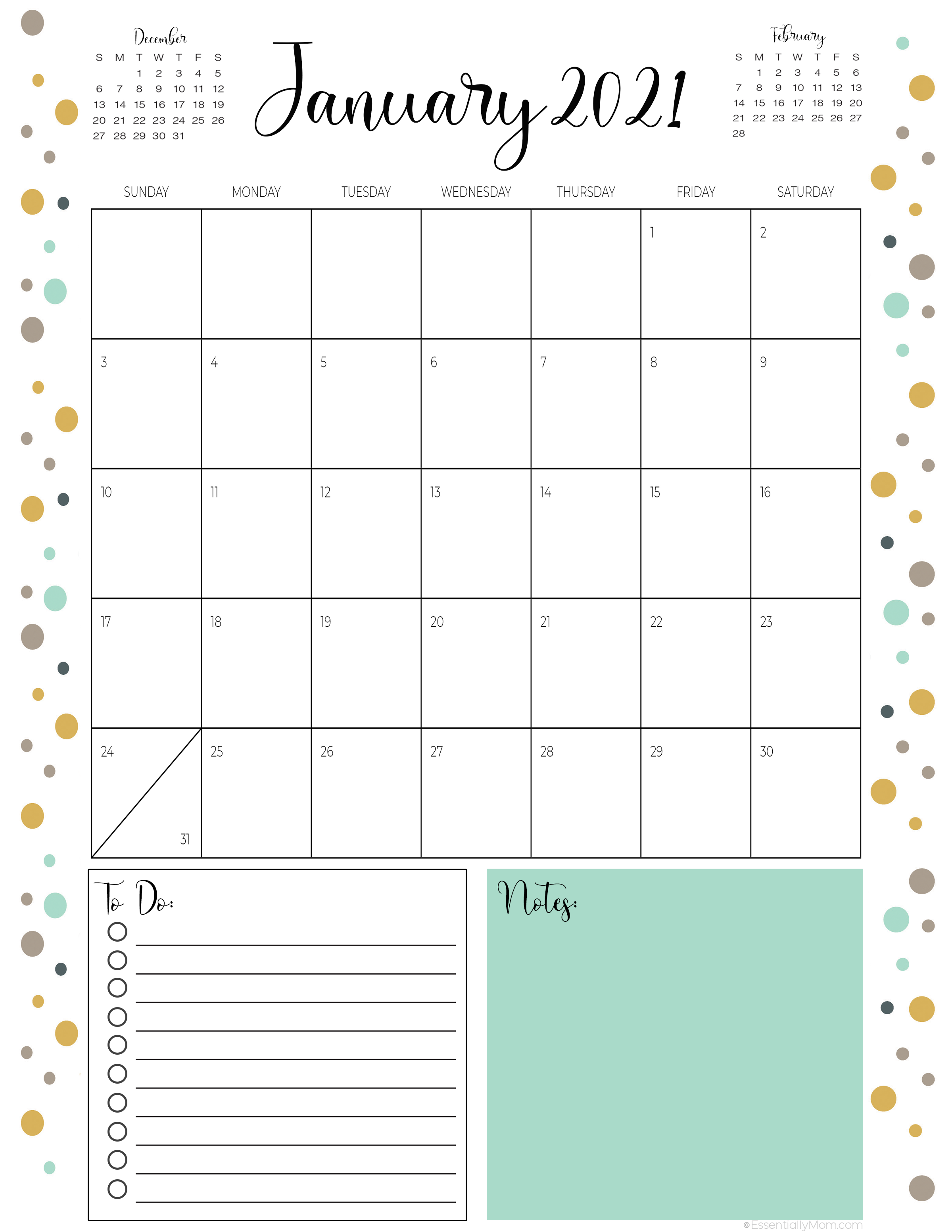 printable 2021 calendars,monthly calendar with to do list,monthly calendar with notes,monthly calendar print out, cute printable monthly calendar 2020