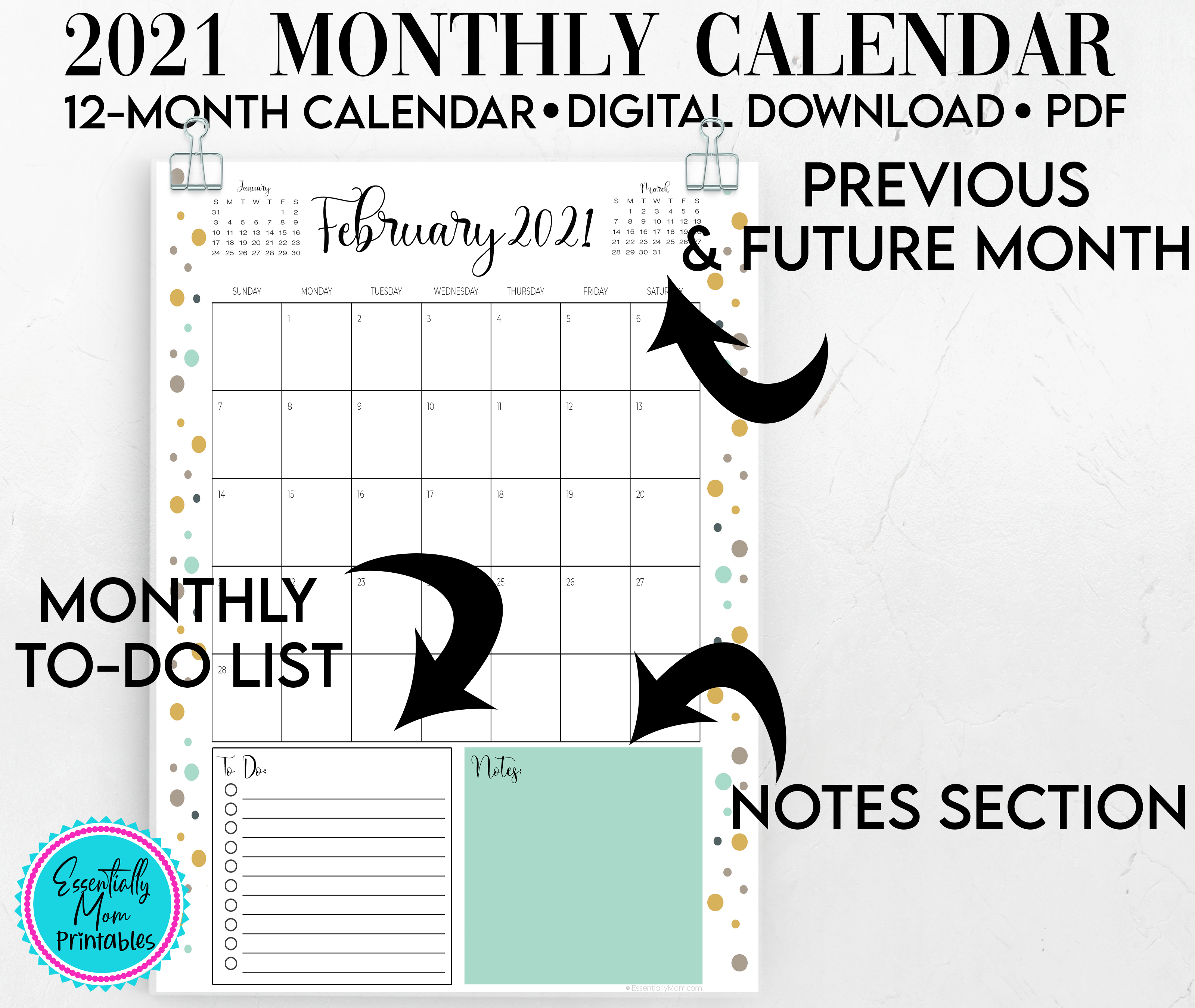 printable 2021 calendars,monthly calendar with to do list,monthly calendar with notes,monthly calendar print out,cute printable monthly calendar 2020