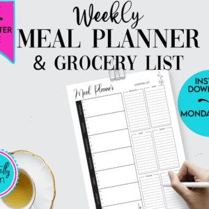 black and white printable meal planner,weekly printable meal planner,7 day meal planner